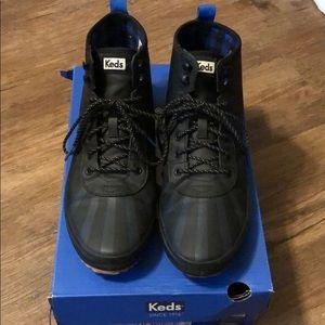 Keds black ankle rain boots